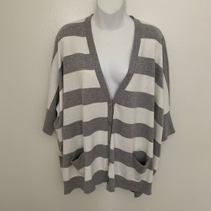 Gray and white striped cardigan dolman sleeves med